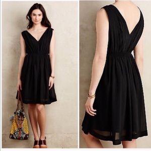 Anthropologie Black Pleated Dress